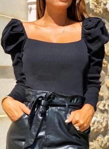 Czarna bluzka Sandbella z długim rękawem