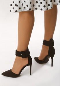 Czarne sandały born2be w stylu klasycznym na obcasie