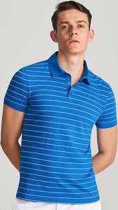 Niebieska koszulka polo Reserved z krótkim rękawem w stylu casual