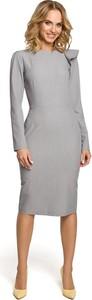 Sukienka MOE z okrągłym dekoltem w stylu casual z długim rękawem
