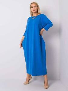 Niebieska sukienka Sheandher.pl z bawełny z długim rękawem maxi