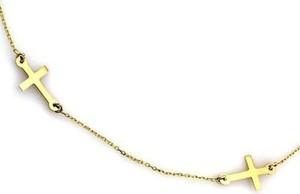 Lovrin Złoty naszyjnik celebrytka 585 podwójne krzyżyki