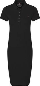 Czarna sukienka Tommy Hilfiger midi z kołnierzykiem w stylu casual