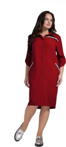 Sukienka Art Mio midi z długim rękawem