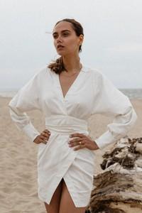 Sukienka Marsala kopertowa z długim rękawem w stylu casual