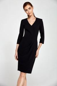 Czarna sukienka Nife z dzianiny z dekoltem w kształcie litery v