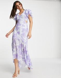 Fioletowa sukienka Lipsy z krótkim rękawem z żakardu z dekoltem w kształcie litery v