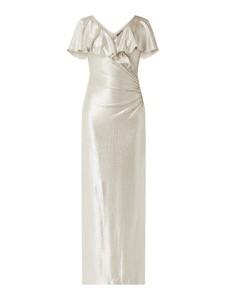 Srebrna sukienka Ralph Lauren maxi z krótkim rękawem kopertowa