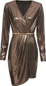 Brązowa sukienka bonprix BODYFLIRT boutique z dekoltem w kształcie litery v kopertowa z długim rękawem