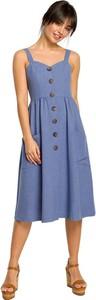 Sukienka Be z tkaniny na ramiączkach