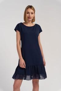 Niebieska sukienka Cotton Club z okrągłym dekoltem mini