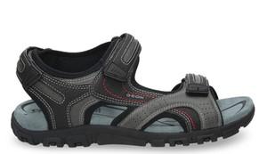 Brązowe buty letnie męskie Geox ze skóry ekologicznej na rzepy