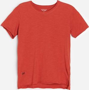 Czerwona koszulka dziecięca Reserved z bawełny z krótkim rękawem dla chłopców