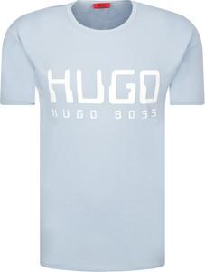Niebieski t-shirt Hugo Boss w młodzieżowym stylu z krótkim rękawem