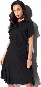 Czarna sukienka Lemoniade z kołnierzykiem z krótkim rękawem