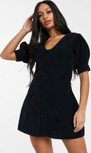 Czarna sukienka Asos Design mini z krótkim rękawem
