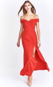 Czerwona sukienka Fokus maxi hiszpanka z krótkim rękawem