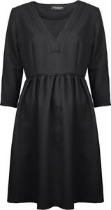 Czarna sukienka Twinset z długim rękawem z okrągłym dekoltem z tkaniny
