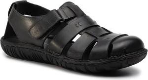 Czarne buty letnie męskie Sergio Bardi ze skóry w stylu casual na rzepy
