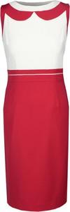 Czerwona sukienka Fokus z okrągłym dekoltem ołówkowa midi