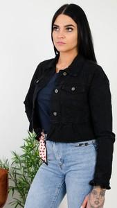 Czarna kurtka Olika w stylu casual z jeansu krótka