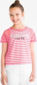 Różowa koszulka dziecięca Here And There z krótkim rękawem
