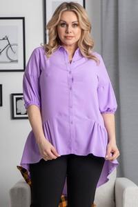 Fioletowa koszula KARKO z długim rękawem z tkaniny w stylu casual