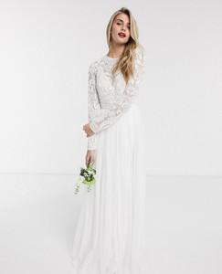 Sukienka Asos maxi z długim rękawem