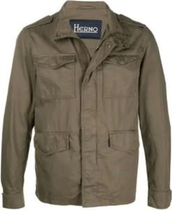 Brązowa kurtka Herno w stylu casual krótka z bawełny