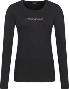 Czarna bluzka Emporio Armani z długim rękawem w stylu casual