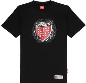 Czarny t-shirt Prosto. z krótkim rękawem z bawełny w młodzieżowym stylu