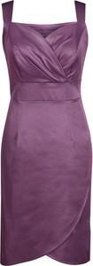 Fioletowa sukienka Fokus z dekoltem w kształcie litery v z tkaniny kopertowa