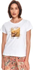Bluzka Top Secret z nadrukiem z bawełny z okrągłym dekoltem