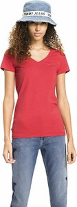 T-shirt Tommy Jeans z dżerseju z dekoltem w kształcie litery v