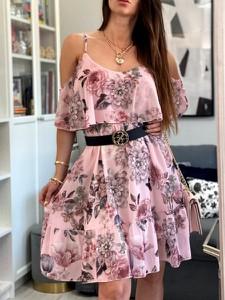 Różowa sukienka Smlfashion.pl mini z szyfonu