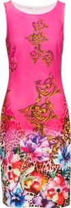 Różowa sukienka bonprix BODYFLIRT boutique bez rękawów midi z okrągłym dekoltem
