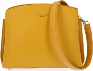 Żółta torebka David Jones ze skóry ekologicznej lakierowana