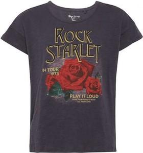 Granatowy t-shirt Pepe Jeans w młodzieżowym stylu z krótkim rękawem