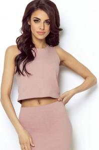 Różowa bluzka Ivon w stylu casual z okrągłym dekoltem