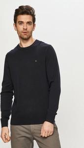 Czarny sweter Tommy Hilfiger w stylu casual z okrągłym dekoltem z bawełny