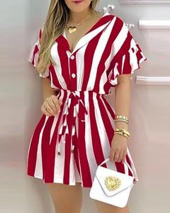 Sukienka Kendallme koszulowa z dekoltem w kształcie litery v z krótkim rękawem