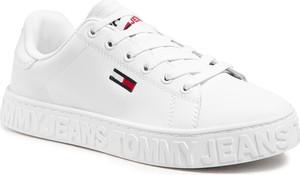 Trampki Tommy Jeans ze skóry z płaską podeszwą