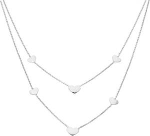 Irbis.style srebrny podwójny naszyjnik serca
