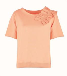 Pomarańczowa bluzka By Insomnia z dzianiny z okrągłym dekoltem