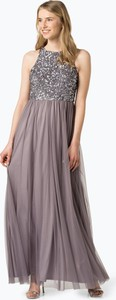 Fioletowa sukienka Marie Lund bez rękawów z okrągłym dekoltem z tiulu