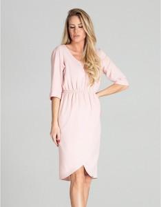Różowa sukienka Figl midi z długim rękawem z dekoltem w kształcie litery v