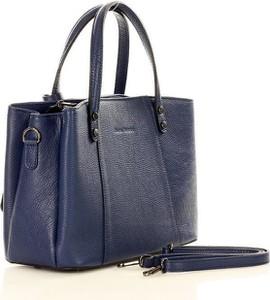 Niebieska torebka MAZZINI do ręki ze skóry duża