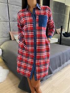 Sukienka ModnaKiecka.pl w stylu casual z długim rękawem koszulowa