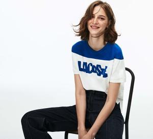 Bluzka Lacoste w młodzieżowym stylu z krótkim rękawem z okrągłym dekoltem