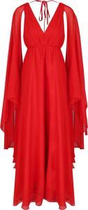 Sukienka Pinko z długim rękawem midi z dekoltem w kształcie litery v